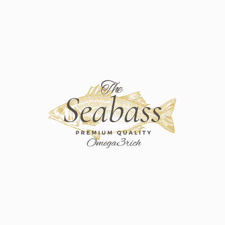 The Best Sea Bass Abstract Vector Sign, Symbol or Logo Template. Elegant Seabass Fish Drawing Sketch with Classy Retro Typography. Vintage Luxury Emblem. Vettoriali