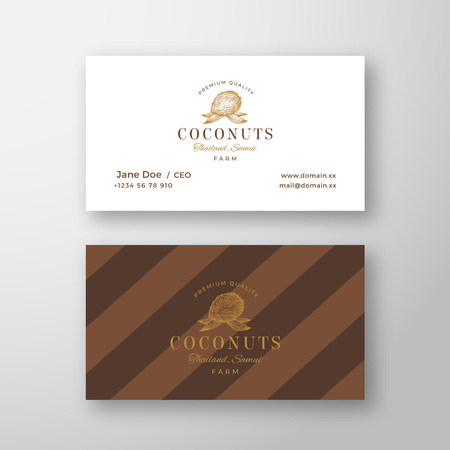 Abstract Elegant Vector Coconut Logo and Business Card Template. Hand Drawn Brown Coconut. Premium Stationary Realistic Mock Up. Modern Typography and Soft Shadows. Stock Photo