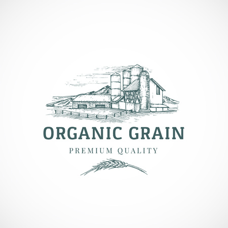 The Organic Grain Elevator Abstract Vector Sign, Symbol or Logo Template. Elegant Farm Landscape Drawing Sketch with Classy Retro Typography. Rural View and Buildings Vintage Luxury Emblem. 向量圖像