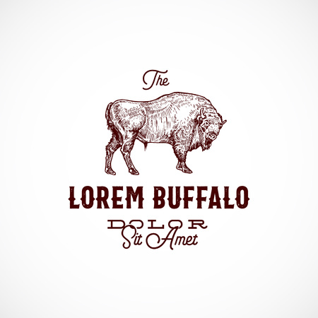 Buffalo Abstract Vector Sign, Symbol or Logo Template. Hand Drawn Bison Sketch Sillhouette with Retro Typography. Vintage Emblem.