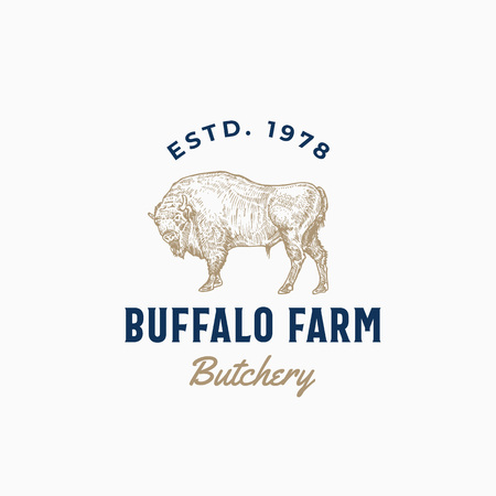 Buffalo Farm Butchery Abstract Vector Sign, Symbol or Logo Template. Hand Drawn Bison Sketch Sillhouette with Retro Typography. Vintage Emblem.