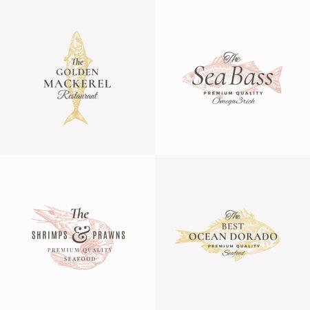 Premium Fish and Seafood Abstract Vector Signs, Symbols or Logo Templates Set. Elegant Hand Drawn Shrimp, Sea Bass, Mackerel and Dorado Sketches with Classy Retro Typography. Vintage Emblems.