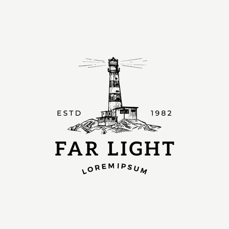 Far Light Abstract Vector Sign, Symbol or Logo Template. Searchlight Tower Landscape Drawing Sketch with Retro Typography. Vintage Lighthouse Engraving Style Nautical Building Emblem.