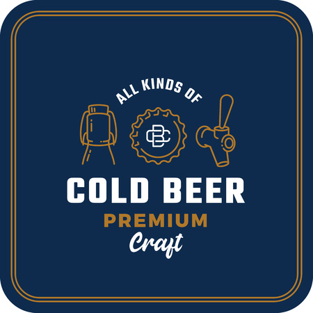 All Kinds of Cold Beer. Abstract Vector Beer Sign, Logo or Coaster Template. Growler Bottle, Cap and Beer Tap Icons with Vintage Monogram and Retro Typography. Illustration