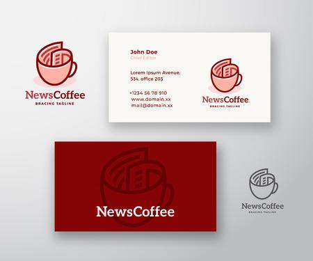 Notizie caffè astratto Vector Logo e modello di biglietto da visita. Rotolo di giornale come concetto di tazza di caffè con tipografia moderna. Mock Up realistico stazionario premium.