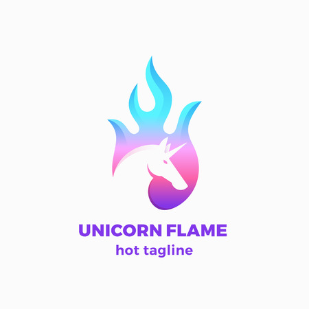 Unicorn Flame Abstract Vector Sign, Symbol or Logo Template. Negative Space Unicorn Sillhouette in a Fire Shape with Modern Typography. Creative Vector Emblem.