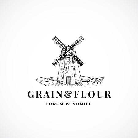 Grain and Flour Abstract Vector Sign, Symbol or Logo Template. Hand Drawn Windmill Sketch Illustration and Retro Typography. Vintage Luxury Emblem. Reklamní fotografie - 120310139