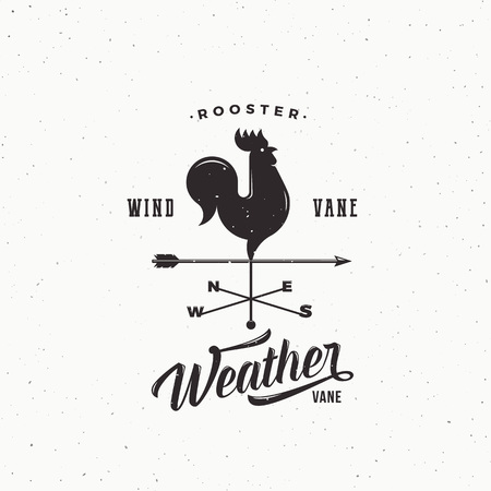 Windvane Rooster Abstract Retro Style Vector Sign, Emblem or Logo Template. Vintage Shabby Texture.