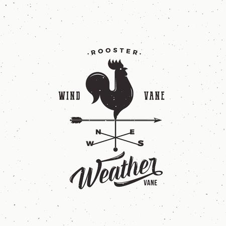 Windvane Rooster Resumen Retro Estilo Vector Signo, Emblema o Plantilla De Logotipo. Textura lamentable de la vendimia.