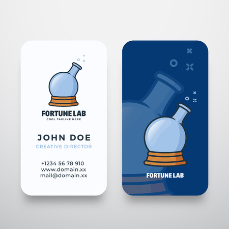 Fortune Lab Abstract Vector Logo and Business Card Template. Magic Ball and Chemistry Flask Concept Symbol. Premium Stationary Realistic Mock Up.