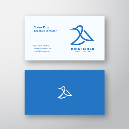 Kingfisher Bird Abstract Vector Logo and Business Card Template. Premium Stationary Realistic Mock Up. Vectores