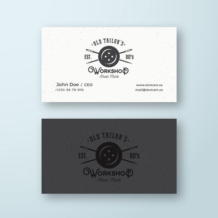 Old Tailors Workshop Vintage Sewing or Clothing Vector Logo and Business Card Template. Button and Crossed Needles Symbol with Retro Shabby Texture. Premium Stationary Realistic Mock Up.