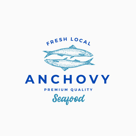 Fresh Local Anchovy Abstract Vector Sign, Symbol or Logo Template. Hand Drawn Anchovy Fish with Premium Retro Typography. Stylish Vector Emblem Concept.