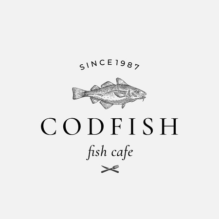 Codfish Abstract Vector Sign, Symbol or Logo Template. Hand Drawn Cod Fish with Classy Retro Typography. Fork and Knife Icon. Vintage Vector Emblem.