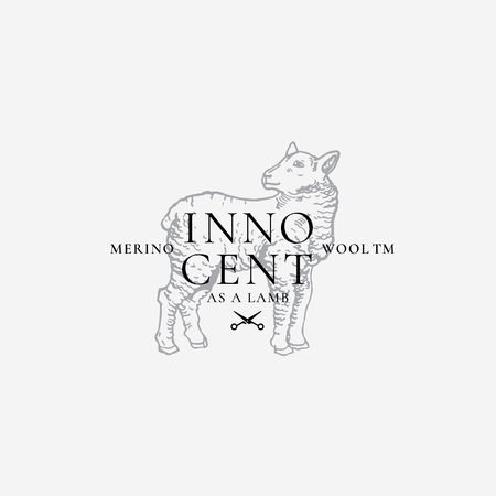 Merino Wool Abstract Vector Sign, Symbol or Logo Template. Hand Drawn Lamb Sillhouette with Retro Typography. Vintage Luxury Vector Emblem. Illustration