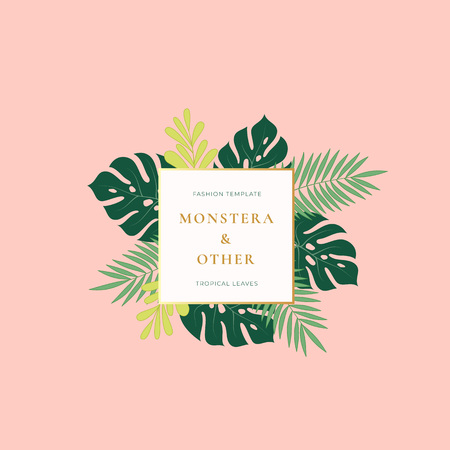 Monstera Palm Tropical Leaves Fashion Sign, Emblem, Card or Logo Template. Abstract Green Foliage with Square Banner, Golden Gradient Border and Classy Typography. Pink Pastel Colors.