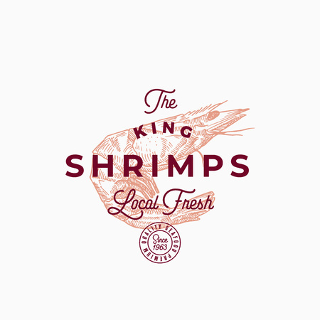 The King Shrimps Abstract Vector Sign, Symbol or Logo Template. Hand Drawn Prawn with Premium Retro Typography and Quality Seal. Stylish Vector Emblem Concept.