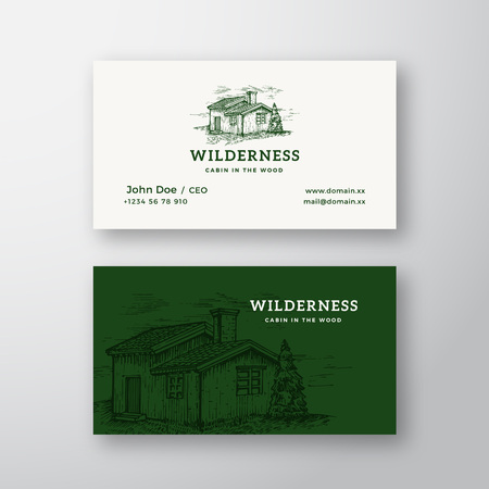 Wilderness Wood Abstract Vintage Vector Logo and Business Card Template. Elegant Wooden Cabin Drawing Sketch with retro Typography. Premium Stationary Realistic Mock Up. Stock Illustratie
