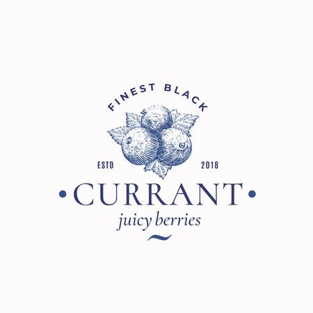 Feinste schwarze Johannisbeere abstraktes Vektorzeichen, Symbol oder Logo-Vorlage. Handgezeichnete saftige Beeren mit Blattskizze und Retro-Typografie. Vintage Gravur Stil Emblem.