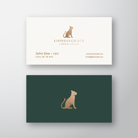 Lioness Grace Abstract Vector Logo and Business Card Template. Gracefull Sitting Lion Silhouette with Retro Typography. Premium Stationary Realistic Mock Up.
