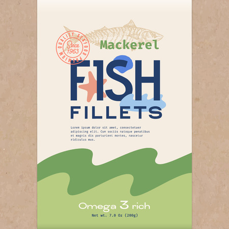 Fish Fillets. Abstract Vector Fish Packaging Design or Label. Modern Typography, Hand Drawn Mackerel Silhouette and Colorful Elements. Craft Paper Background Layout