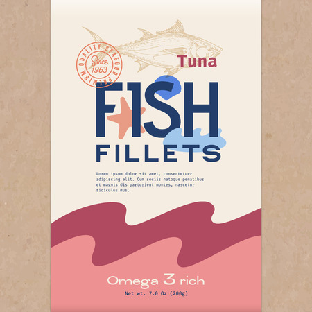 Fish Fillets. Abstract Vector Fish Packaging Design or Label. Modern Typography, Hand Drawn Tuna Silhouette and Colorful Elements. Craft Paper Background Layout. Foto de archivo - 117535470