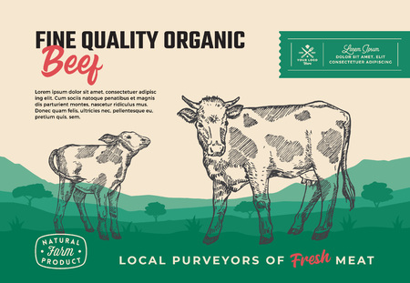 Fine Quality Organic Beef. Abstract Vector Meat Packaging Design or Label. Modern Typography and Hand Drawn Cow with Calf Silhouettes. Rural Pasture Landscape Background Layout with Banner Illusztráció