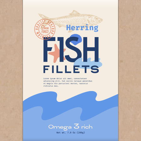 Fish Fillets. Abstract Vector Fish Packaging Design or Label. Modern Typography, Hand Drawn Herring Silhouette and Colorful Elements. Craft Paper Background Layout. Illustration