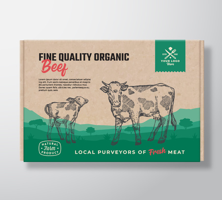 Fine Quality Organic Beef. Vector Meat Packaging Label Design on a Craft Cardboard Box Container. Modern Typography and Hand Drawn Cow with Calf Silhouettes. Rural Pasture Landscape Background Layout 일러스트