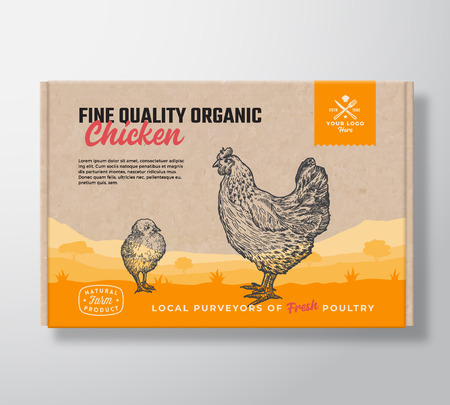 Fine Quality Organic Chicken. Vector Meat Packaging Label Design on a Craft Cardboard Box Container. Modern Typography and Hand Drawn Chickens Silhouettes. Rural Pasture Landscape Background Layout Illustration