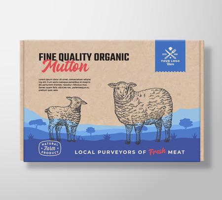 Mouton biologique de qualité fine. Conception d'étiquettes d'emballage de viande de vecteur sur un conteneur de boîte en carton d'artisanat. Typographie moderne et silhouettes d'agneau de mouton dessinées à la main. Disposition de fond de paysage de pâturage rural