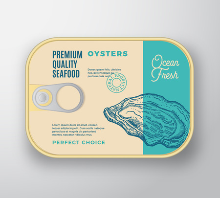 Premium Seafood Aluminium Container with Label Cover. Retro Vector Canned Packaging Design. Modern Typography and Hand Drawn Oyster Silhouette Background Layout. Isolated.