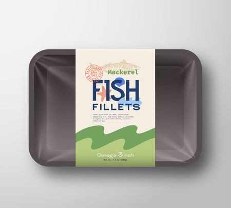 Fish Fillets Pack. Abstract Vector Fish Plastic Tray Container with Cellophane Cover. Packaging Design Label. Modern Typography Hand Drawn Mackerel Silhouette with Colorful Elements Layout.