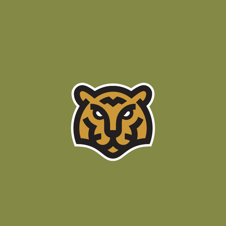 Minimalist Line Style Tiger Face Abstract Vector Icon, Symbol or Logo Template. Wild Animal Head Sillhouette. Creative Predator Emblem. Green Military Background