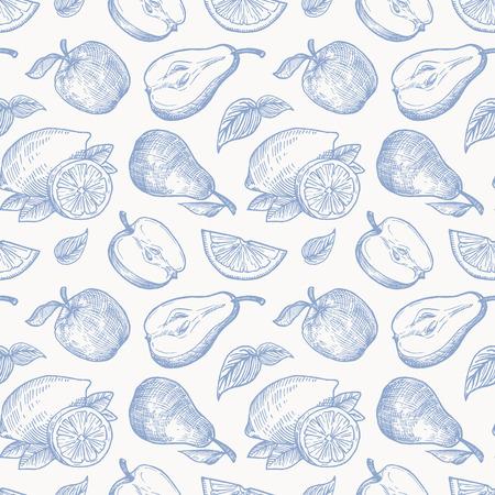 Hand Drawn Apples Pears and Lemons Harvest Vector Seamless Background Pattern. Fruits and Leaves Sketches Card or Cover Template.