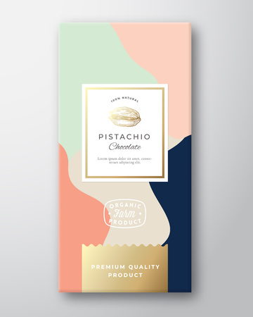 Pistachio Chocolate Label. Abstract Vector Packaging Design Layout with Soft Realistic Shadows. Modern Typography, Hand Drawn Nut Silhouette and Colorful Background.