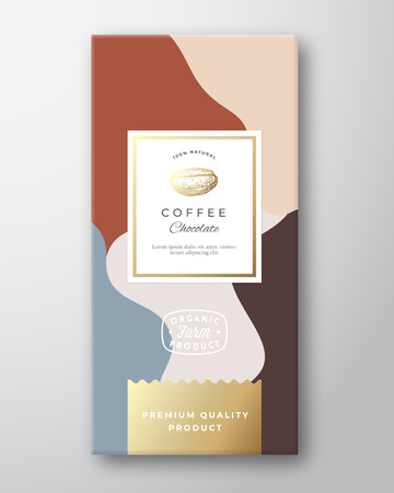 Coffee Chocolate Label. Abstract Vector Packaging Design Layout with Soft Realistic Shadows. Modern Typography, Hand Drawn Coffee Bean Silhouette and Colorful Background. Isolated.