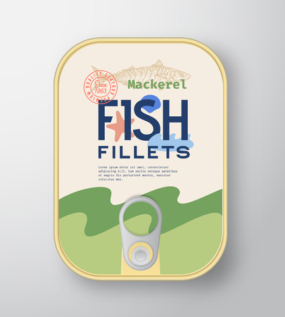 Fish Fillets Aluminium Container with Label Cover. Abstract Vector Premium Canned Packaging Design. Modern Typography and Hand Drawn Mackerel Silhouette Background Layout. Isolated.