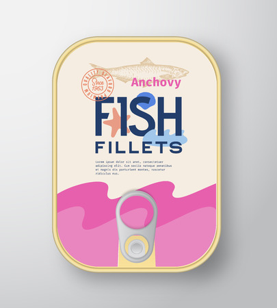 Fish Fillets Aluminium Container with Label Cover. Abstract Vector Premium Canned Packaging Design. Modern Typography and Hand Drawn Anchovy Silhouette Background Layout. Isolated.