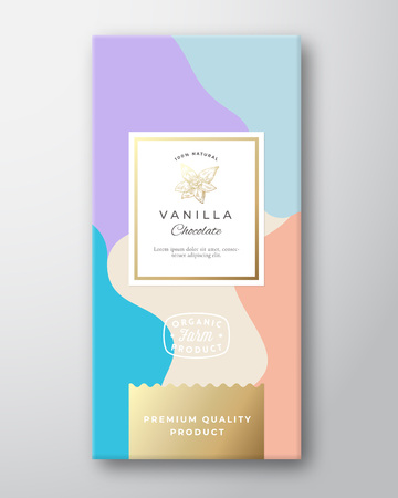 Vanilla Chocolate Label. Abstract Vector Packaging Design Layout with Soft Realistic Shadows. Modern Typography, Hand Drawn Vanilla Spice flower Silhouette and Colorful Background. Isolated.
