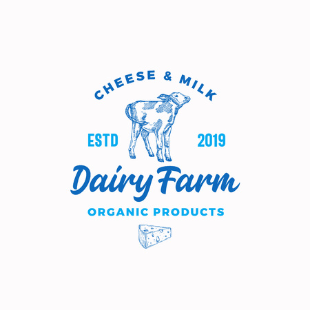 Cheese and Milk Dairy Farm. Abstract Vector Sign, Symbol or Logo Template. Hand Drawn Cow Calf and Cheese Sillhouettes with Retro Typography. Vintage Emblem.