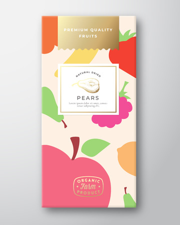 Dried Fruits Label Packaging Design Layout. Abstract Vector Paper Box with Colorful Fruit and Berries Pattern Background Cover. Modern Typography and Hand Drawn Pear.