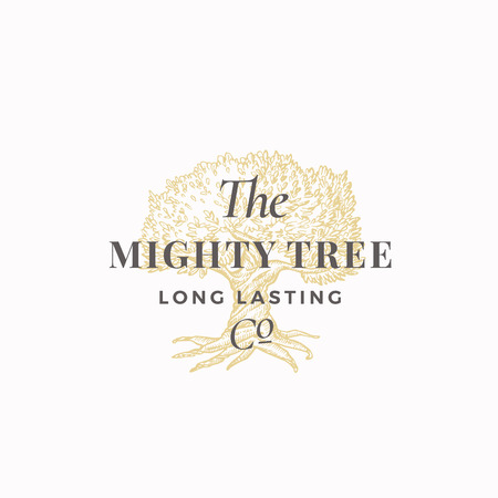 Mighty Tree Long Lasting Company Abstract Vector Sign, Symbol or Logo Template. Hand Drawn Oak Tree Sketch Sillhouette with Retro Typography. Vintage Emblem.