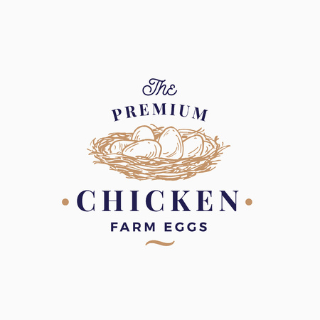 Premium Chicken Eggs Farm Abstract Vector Sign, Symbol or Logo Template. Hand Drawn Sketch Nest with Eggs Sillhouette with Retro Typography. Vintage Emblem.
