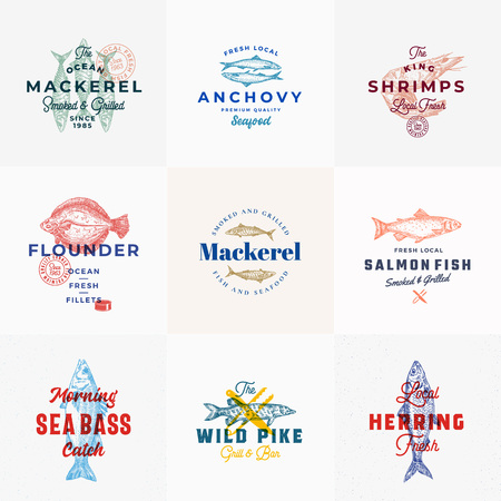 Premium Seafood Vector Signs or Logo Templates Set. Hand Drawn Vintage Fish Sketches with Classy Typography, Tuna, Mackerel, Salmon, Shrimp, Herring etc. Retro Restaurant and Seafood Emblems.