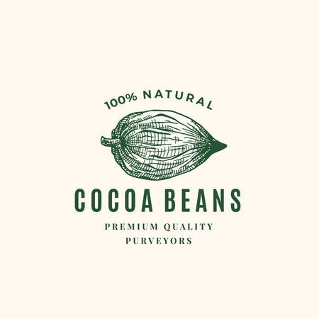 Natural Cocoa Beans Abstract Vector Sign, Symbol or Logo Template. Hand Drawn Sketch Cacao Bean Sillhouette with Retro Typography. Vintage Luxury Emblem.