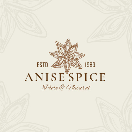 Pure and Natural Anise Abstract Vector Sign, Symbol or Logo Template. Anise Flower Star Sillhouette with Retro Typography. Vintage Emblem. Illustration