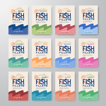 Fish Fillets Labels Collection. Abstract Vector Fish Packaging Design or Cards Series. Modern Typography and Hand Drawn Fishes Silhouettes Background Layout. Soft Realistic Shadows. Isolated.