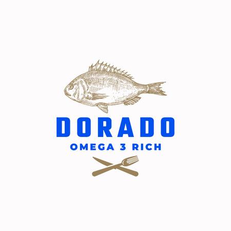 Omega 3 Rich Dorado Fish Abstract Vector Sign, Symbol or Logo Template. Hand Drawn Sketch Dorada with Modern Typography. Vector Emblem.