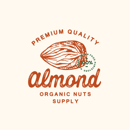 Premium Quality Almond Abstract Vector Sign, Symbol or Logo Template. Hand Drawn Almond Nut Sketch Sillhouette with Retro Typography and Seal. Vintage Luxury Emblem. Illustration